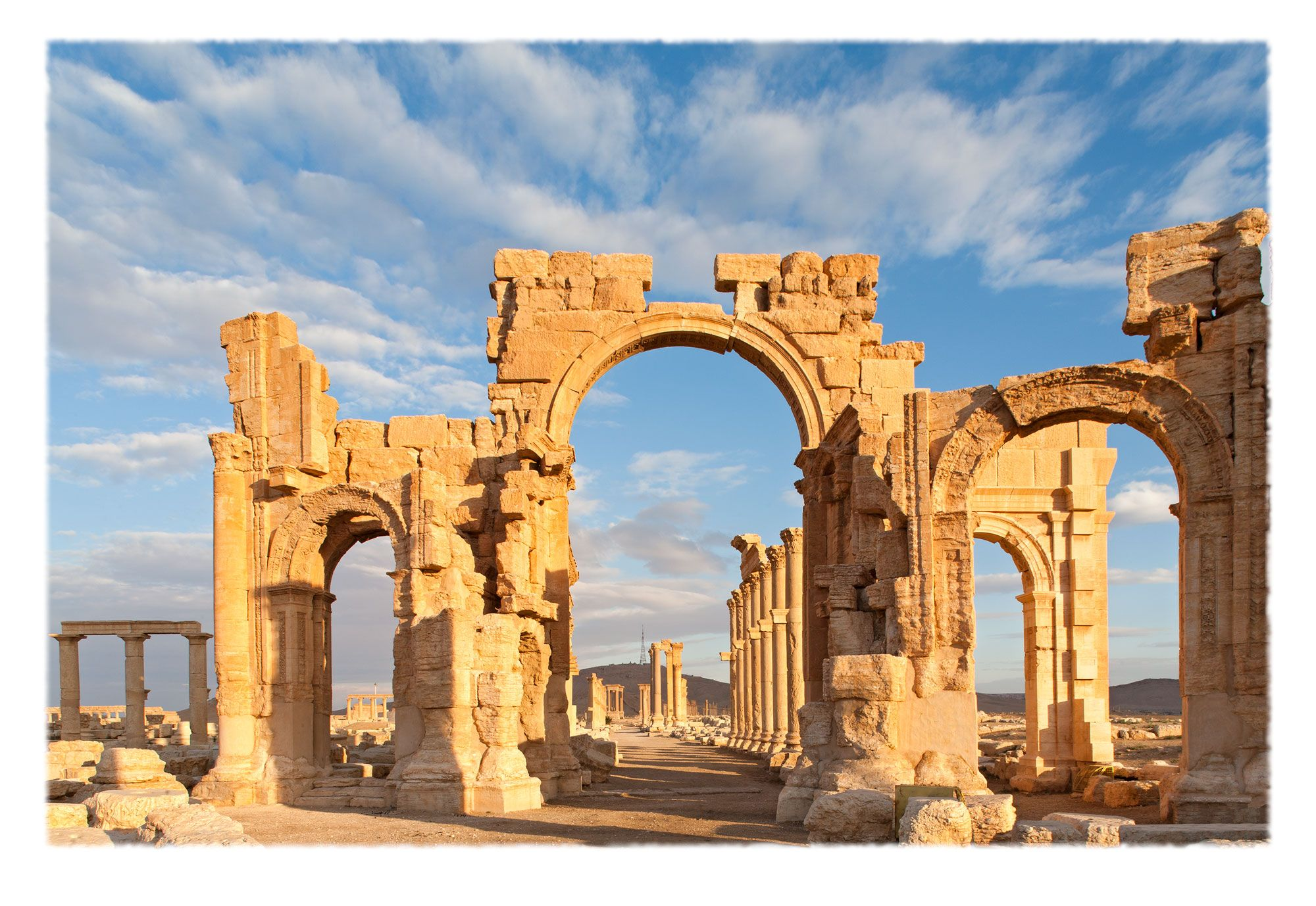 Qaws al-Nasr (in Arabic), a monumental arched entrance to the main colonnaded thoroughfare of ancient Palmyra. Built during the reign of emperor Septimius Severus [193 to 211 CE], it commemorated a Roman victory over the Parthians. It was exploded with dynamite in October 2015 by Daesh.