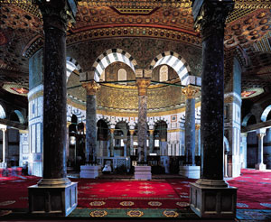 Dome of the Rock, full interior view from qibla door